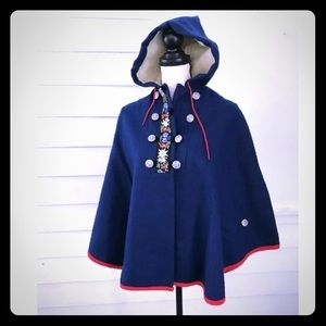 Macwil Hooded Poncho Cape Blue Embroidered